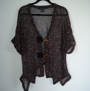 Ronnie Salloway open weave 2 button cardigan size L